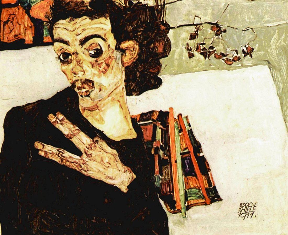 《自画像》エゴン・シーレ/1911年/油彩、板/ウィーン・ミュージアム蔵 出典=ウィキメディア・コモンズ (Wikimedia Commons)