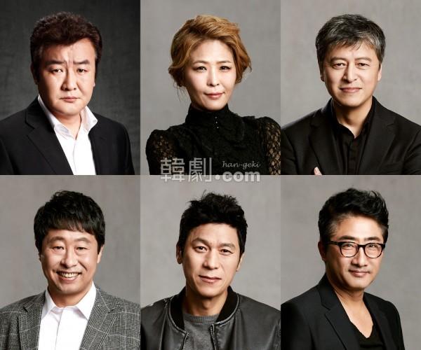 ドラマ、映画でおなじみの名優が勢ぞろい!(上段左から)ソン・ジョンハク、ファン・ソクジョン、クォン・ヘヒョ (下段左から)イ・デヨン、キム・レハ、リュ・テホ