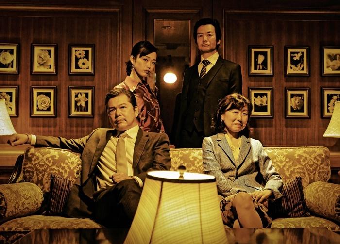 T-works#4『THE Negotiation:Returns』キャスト。(右下から時計回りに)山崎和佳奈、三上市朗、丹下真寿美、森下亮。