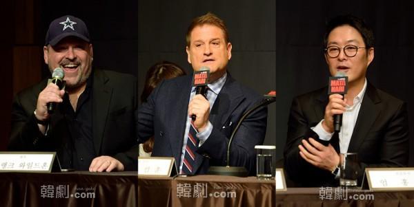 (写真左から)作曲:フランク・ワイルドホーン、演出・振付:ジェフ・カルフーン、総括プロデューサー:オム・ホンヒョン代表