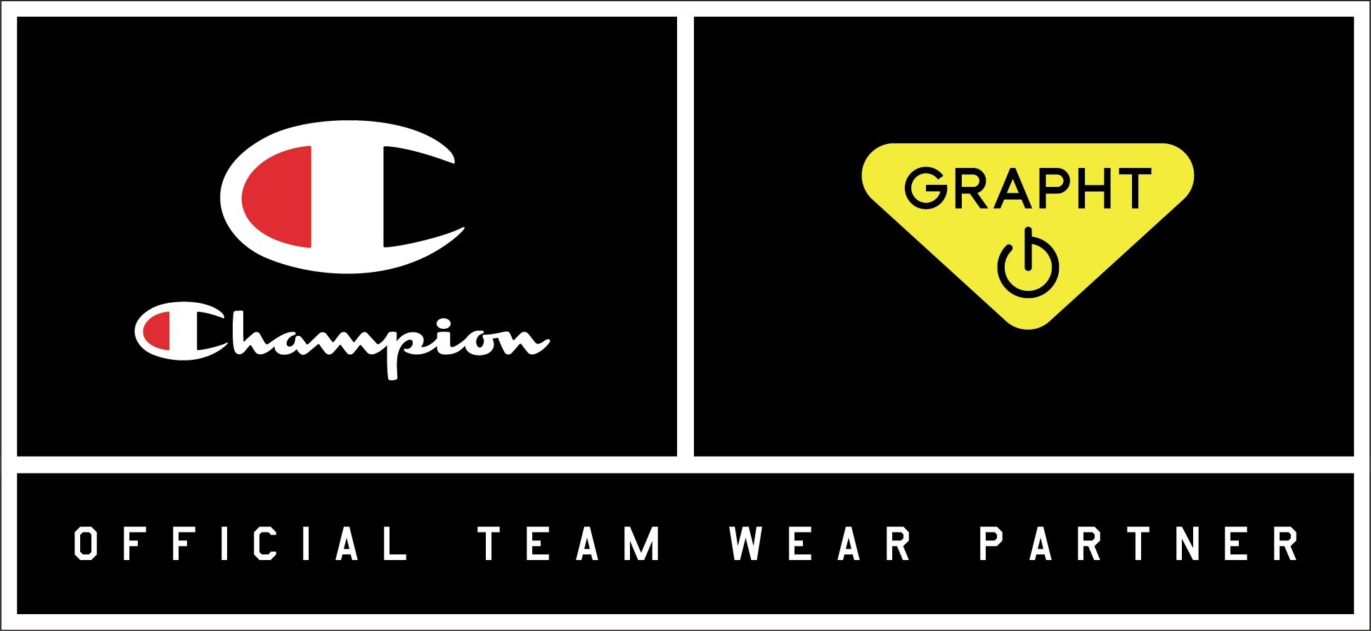 """""""Champion""""と""""Team GRAPHT(チーム グラフト)""""のロゴ (C)2017 HANESBRANDS JAPAN INC. All Rights Reserved."""