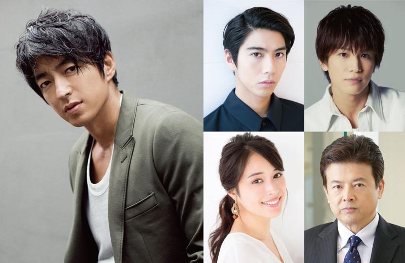 左:主演の大沢たかお、右:左上から時計まわりに、賀来賢人、岩田剛典、三浦友和、広瀬アリス