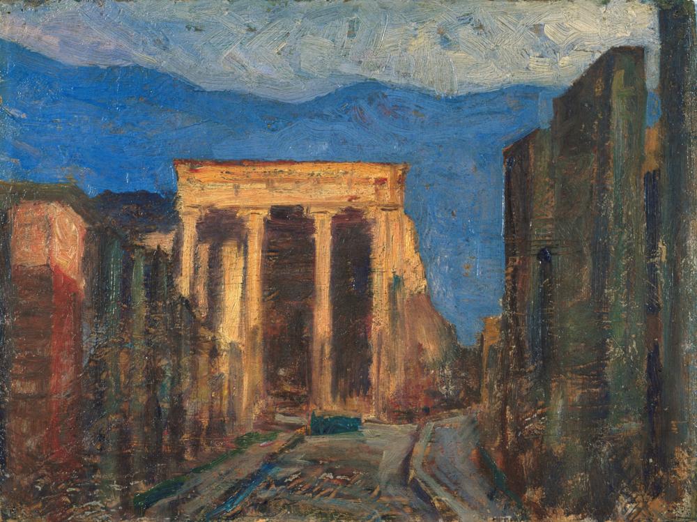 藤島武二《ポンペイの廃墟》 1908 年頃 油彩、板 茨城県近代美術館