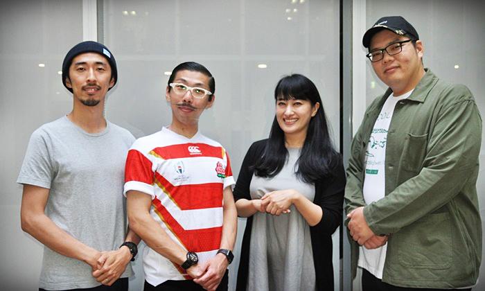 (左から)村角ダイチ、ボブ・マーサム(村角太洋)、春野恵子、満腹満。 [撮影]吉永美和子(人物すべて)