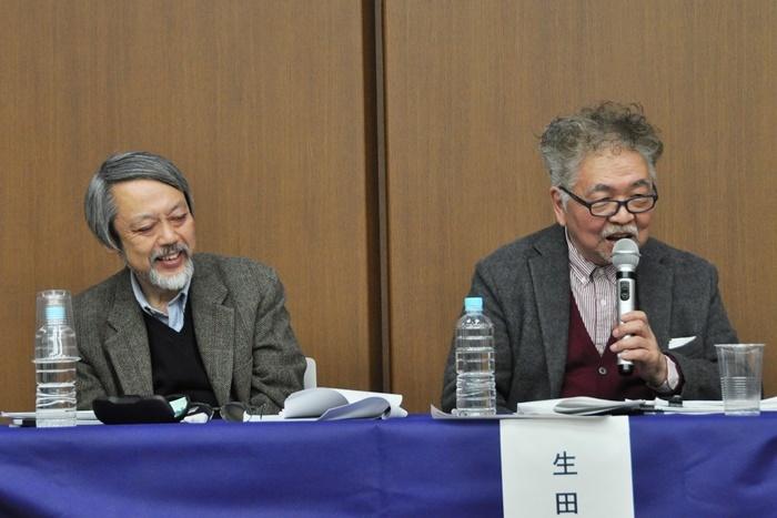 (左から)小堀純(司会)、生田萬。
