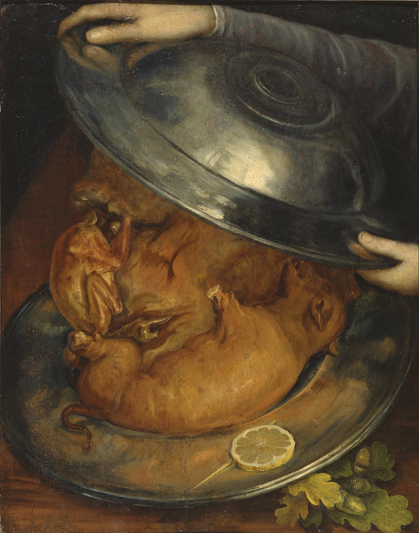 ジュゼッペ・アルチンボルド《コック/肉》 1570年頃 油彩/板 ストックホルム国立美術館蔵  ©Photo: Bodil Karlsson/Nationalmuseum