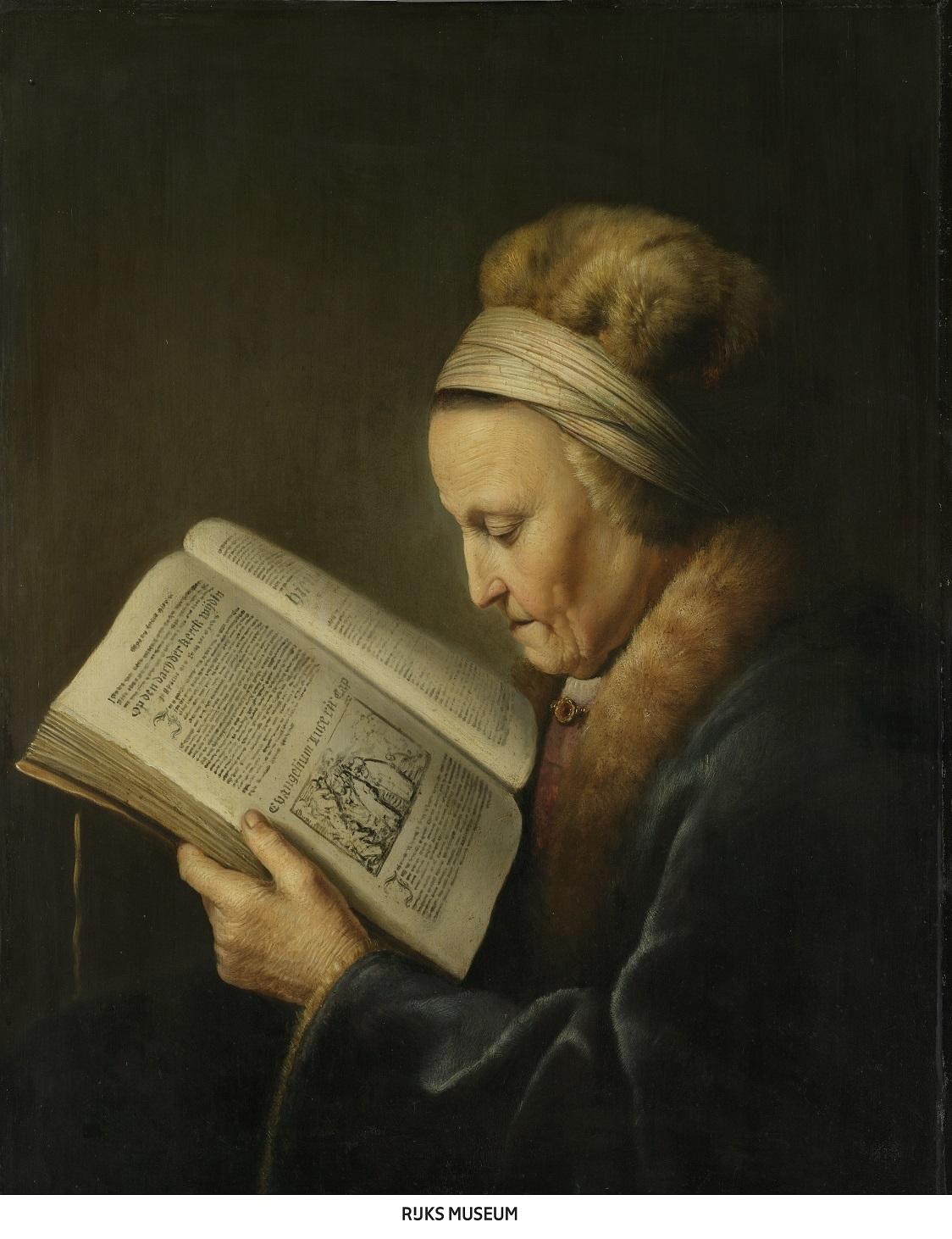 ヘラルト・ダウ 《本を読む老女》    1631-1632年頃 油彩・板 71.2×55.2cm    アムステルダム国立美術館     Rijksmuseum. A.H. Hoekwater Bequest, The Hague, 1912