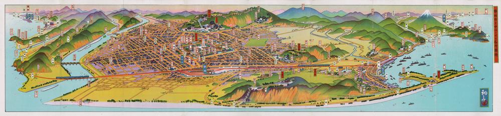 吉田初三郎《静岡市を中心とせる名所図絵》 1930年 八戸クリニック街かどミュージアム