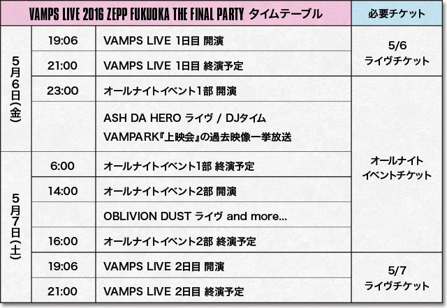 『VAMPS LIVE 2016 ZEPP FUKUOKA THE FINAL PARTY』タイムテーブル