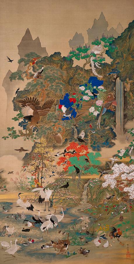 鈴木其一《百鳥百獣図》(右)天保14(1843)年 米国・サンアントニオ美術館