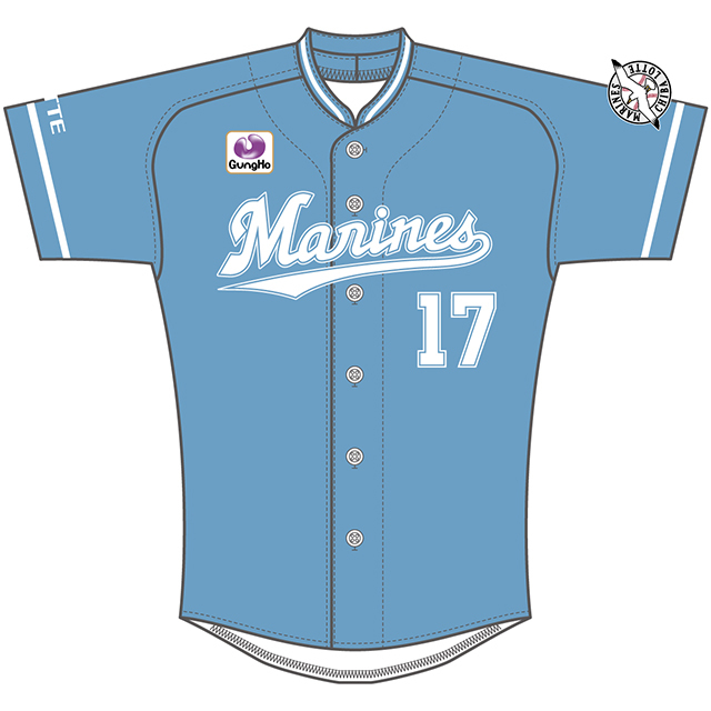 ブルーを基調にチームカラーのホワイトをあわせた『マリンフェスタ』用特別ユニホーム
