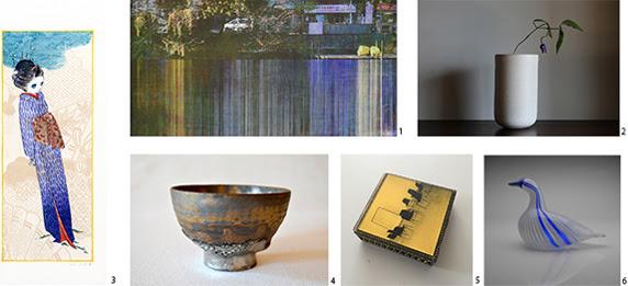 1.湯浅克俊『Quadrichromie - Homage to Claude Monet -』(2018)、2.ルーシー・リー『白釉花器』(1960 年代)、 3.山口藍『歌木立 - 松の言』(2018)、  4.青木良太『熔岩手銀瓷茶碗』(2017)、5.三田村光土里『DRIFT # lecture』(2015) © Midori Mitamura、6.オイバ・トイッカ 『No name(prototype)』(1980 年代)