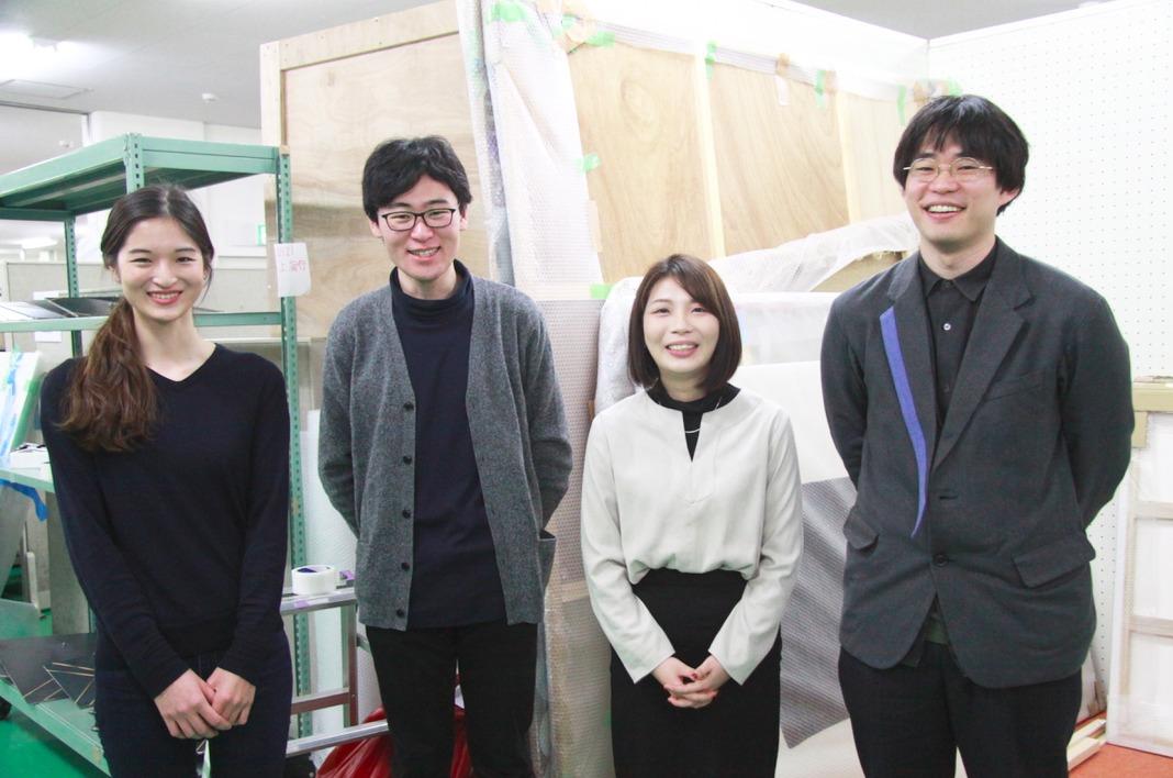 (左から)学生キュレーターの森本真梨子(女子美術大学)、内藤和音(多摩美術大学)、高橋和佳奈(筑波大学)、内海潤也(東京藝術大学)