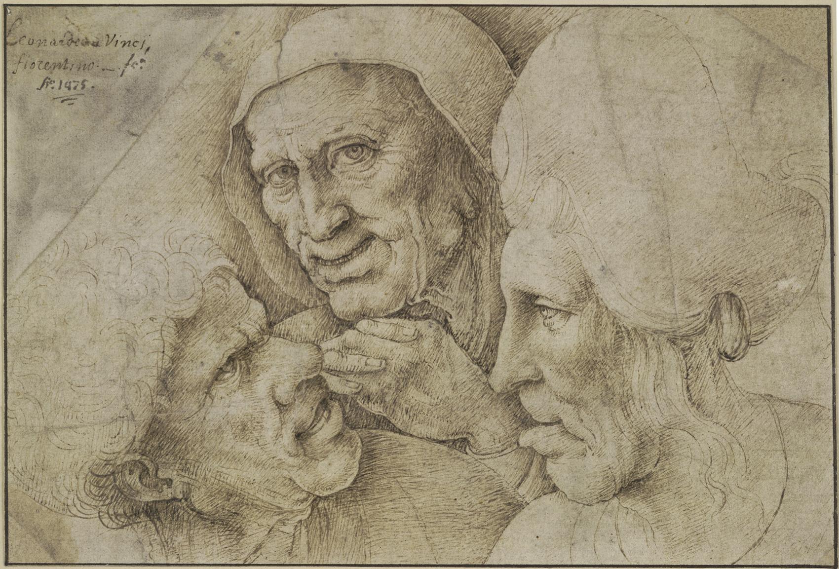 レオナルド・ダ・ヴィンチに基づく《男女の頭部のカリカチュア》 ペン、褐色インク/紙 大英博物館蔵  ©The Trustees of the British Museum