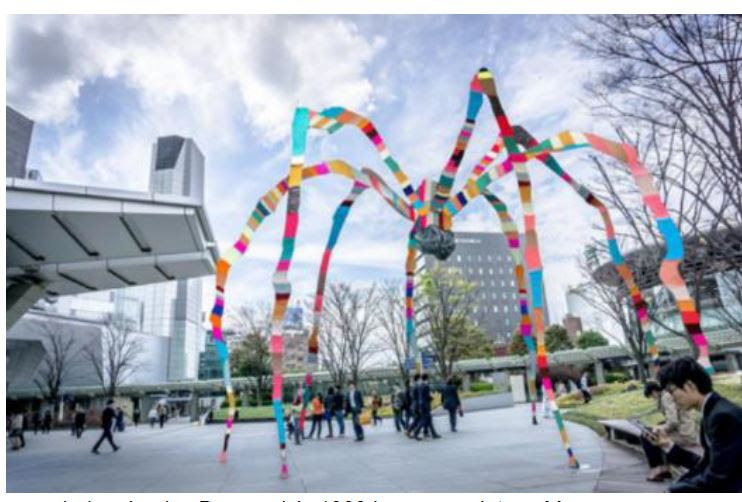 rendering, Louise Bourgeois's 1999 bronze sculpture Maman wrapped in fabric by Magda Sayeg in a temporary installation at Roppongi Hills, Tokyo, April-May 2018. (C)The Easton Foundation/Licensed by JASPAR, Tokyo and VAGA, New York