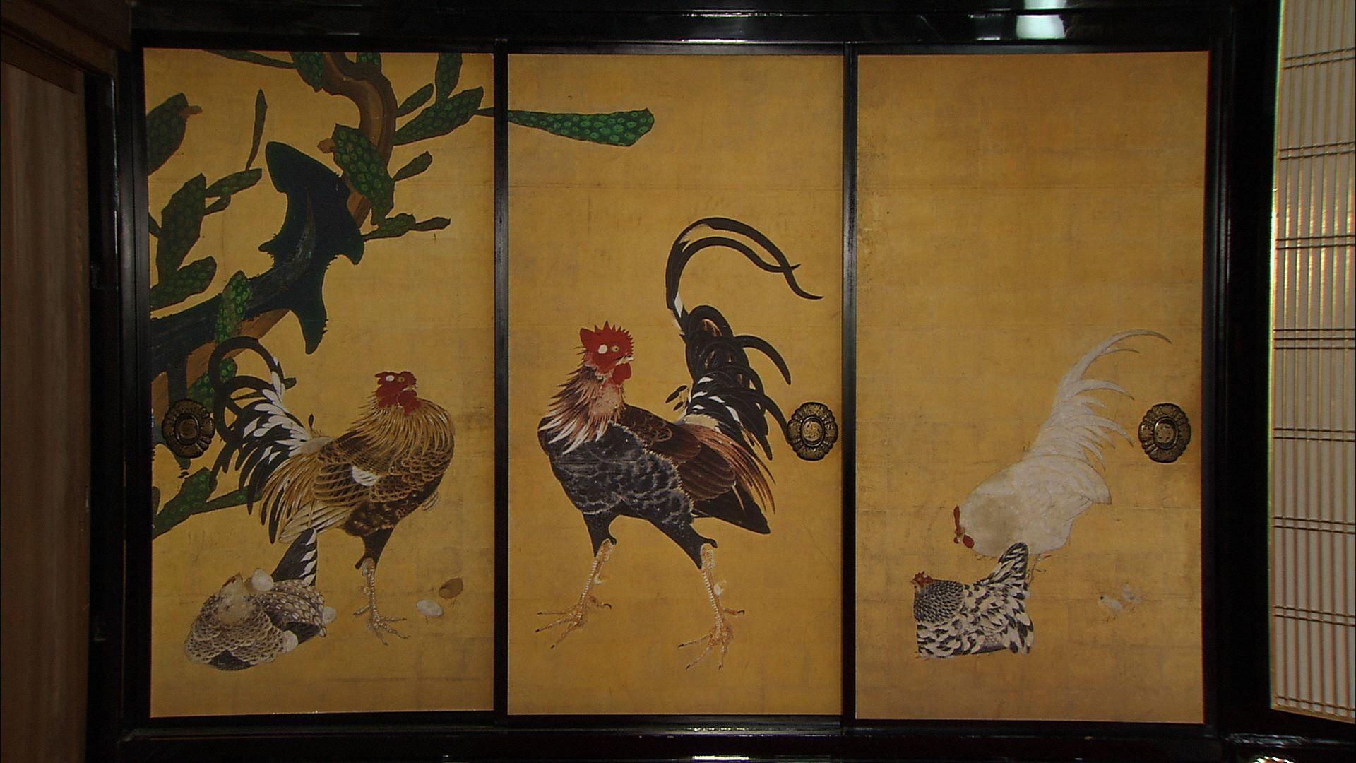 仙人掌群鶏図