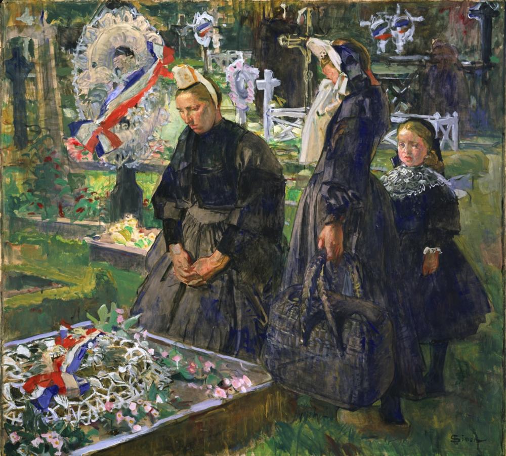 リュシアン・シモン《墓地のブルターニュの女たち》 1918年頃  水彩・グアッシュ、紙 国立西洋美術館(松方コレクション)