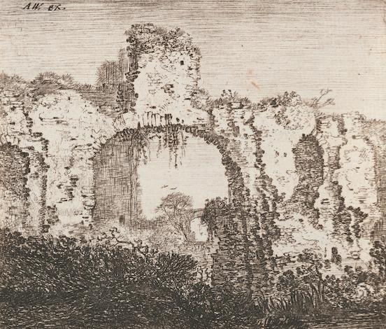 ヨハネス・ライシャー、アントニー・ワーテルロー《古城》1660年以前 エッチング 静岡県立美術館