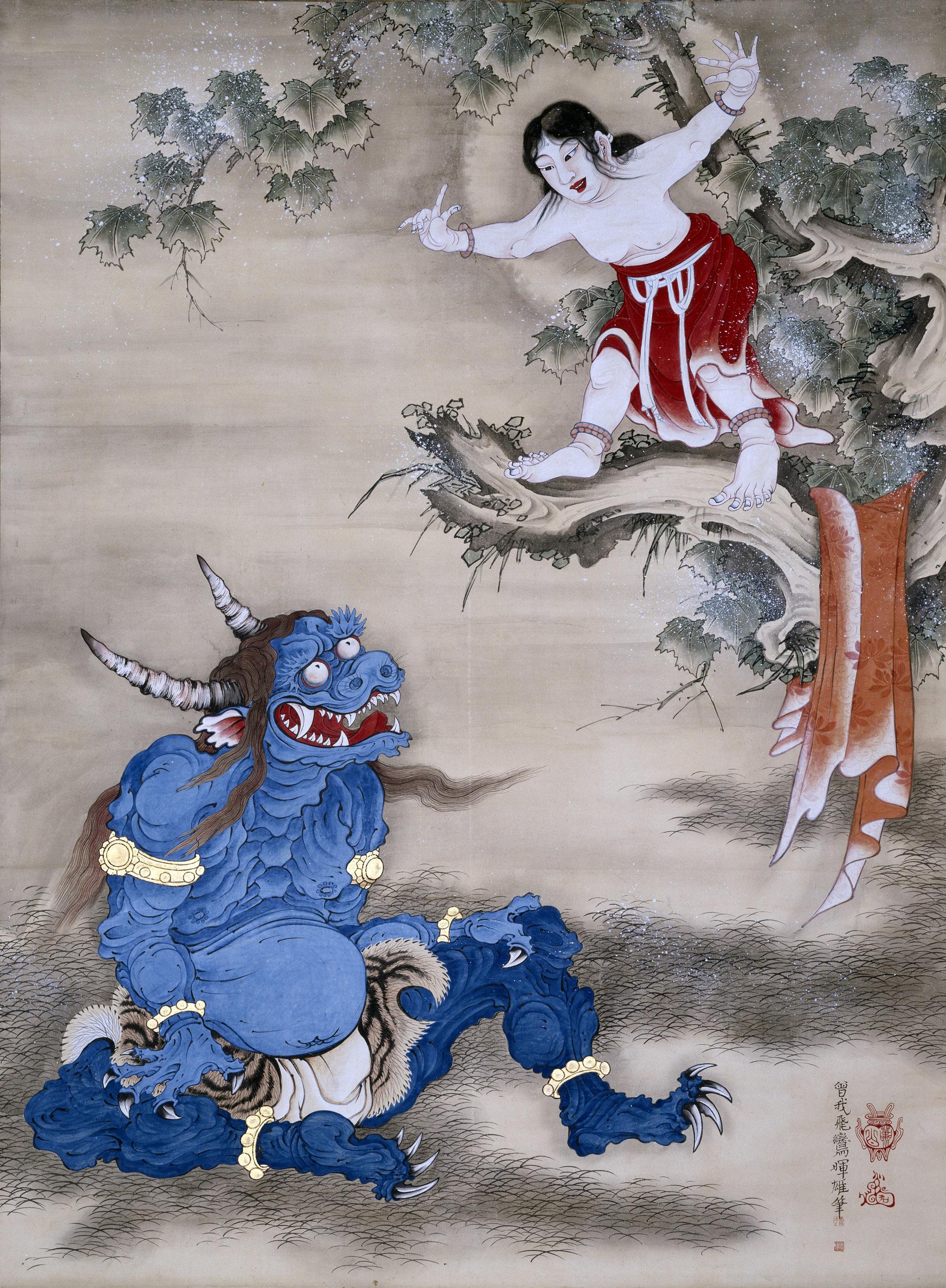 曽我蕭白 《雪山童子図》 紙本着色 一幅 169.8×124.8 明和元年(1764)頃 三重・継松寺