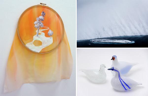 写真左:宇田川愛《ice bridge iv》、右上:髙﨑紗弥香《Fragment of Silence #19》、右下:《Birds by Toikka》