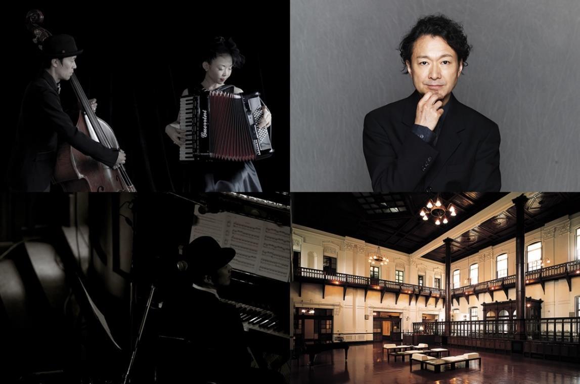 (上段左から)mama!milk、白井晃 (下段左から)阿部海太郎、会場の京都文化博物館 別館ホール