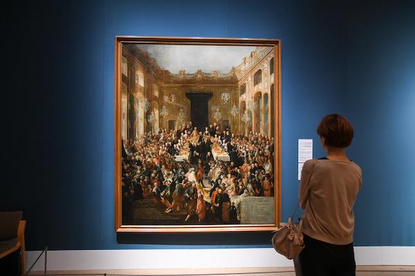 ヨハン・カール・アウアーバッハ《ホーフブルクで1766年4月2日に開催されたオーストリア大公女マリア・クリスティーナとザクセンのアルベルトの婚約記念晩餐会》 1773年 ウィーン美術史美術館