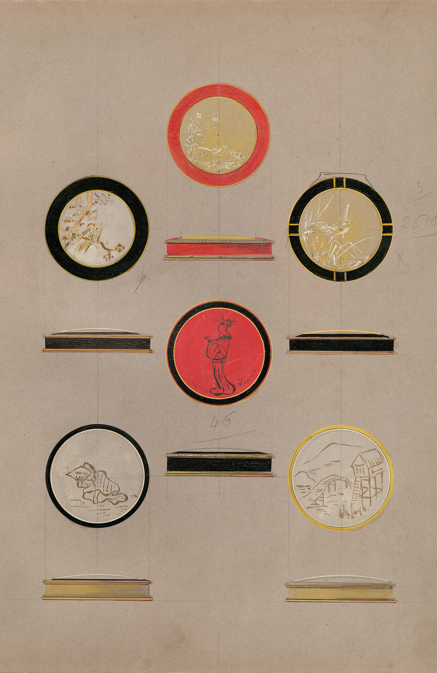 ショーメデザイン工房 《「日本風」のデザイン画》 人物、風景、自然モティーフの化粧ケース 1925年頃 鉛筆、グアッシュ、墨 ショーメ・コレクション、パリ (C) Chaumet