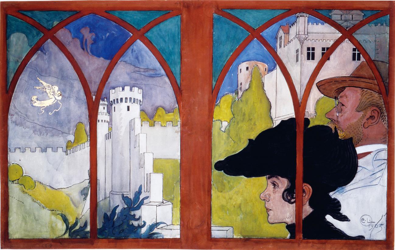 カール・ラーション 《史跡巡りをする夫妻》 1906年 水彩 カール・ラーション・ゴーデン (C) Carl Larsson-gården