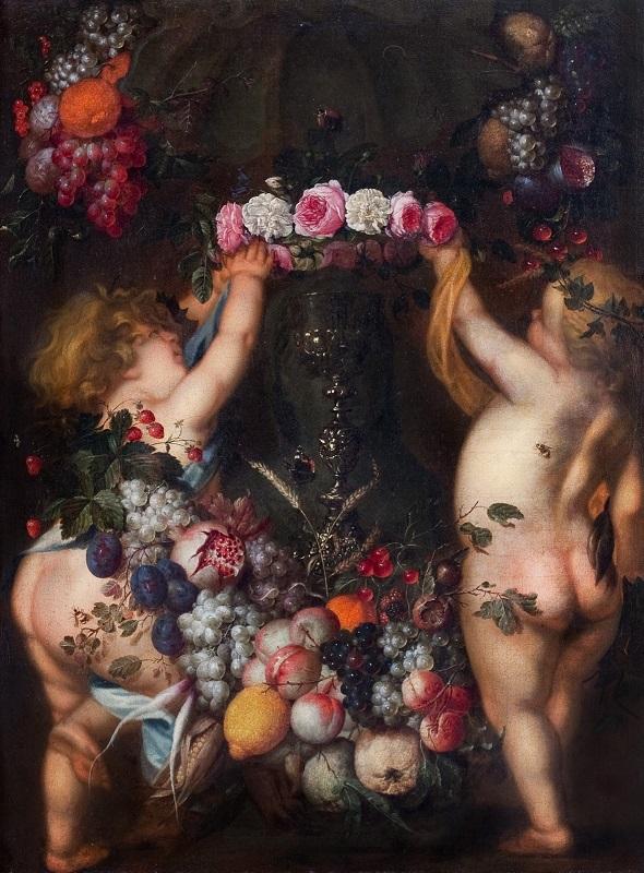 ヤン・ダーフィッツゾーン・デ・ヘーム 《花束と果実とプットー》 ヨハネ・パウロ2世美術館©Museum John Paul Ⅱ Collection