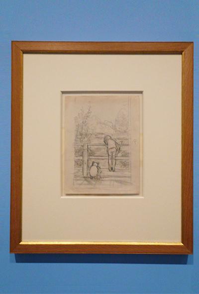 ながいあいだ、三人はだまって、下を流れてゆく川をながめていました 『プー横町にたった家』第6章、 E.H.シェパード、鉛筆画、1928年、ジェームス・デュボース・コレクション©The Shepard Trust