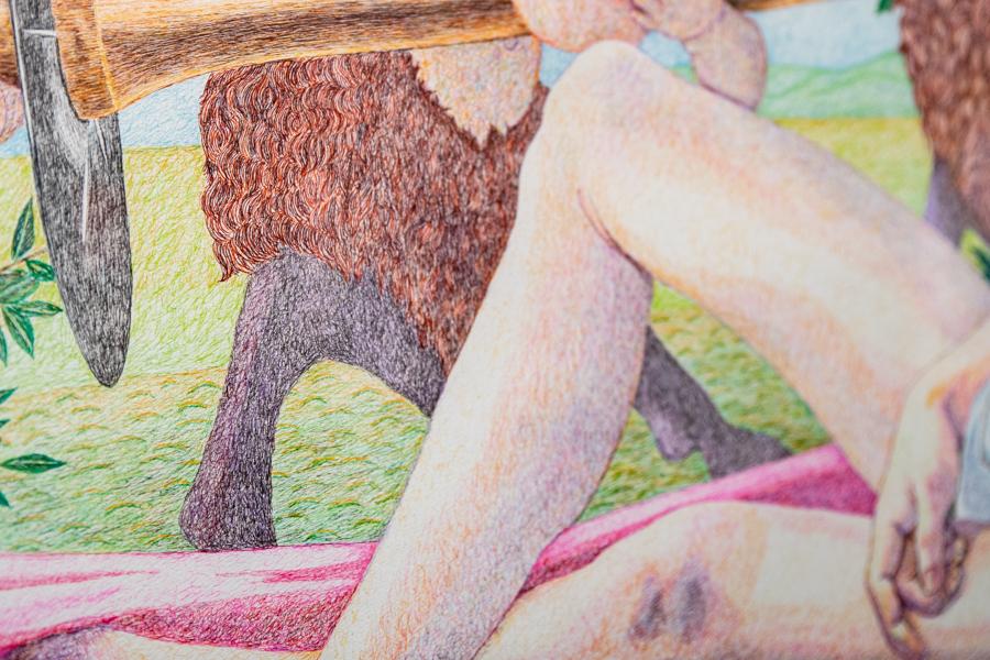 ボッティチェリへのオマージュ《「Venus and Mars」の模写》(部分)。毛並みも肌の質感もボールペンで表現している。