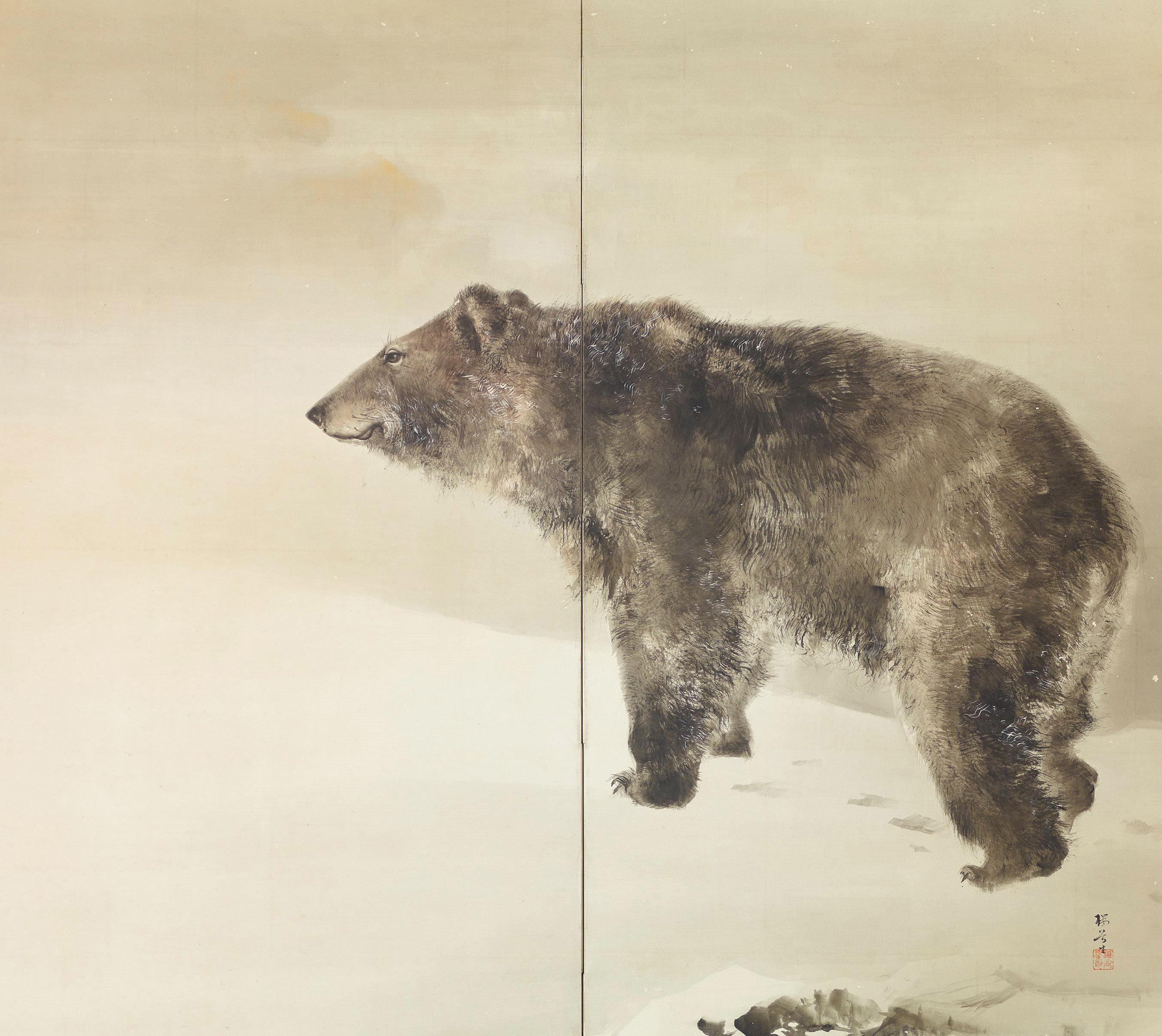 《熊鷲図屏風》右隻 明治時代 個人蔵