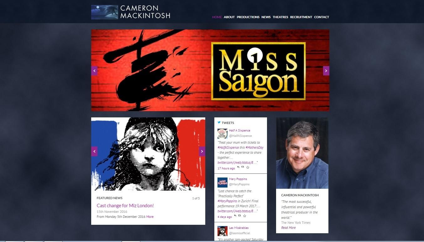 cameronmackintosh.comトップページのスクリーンショット