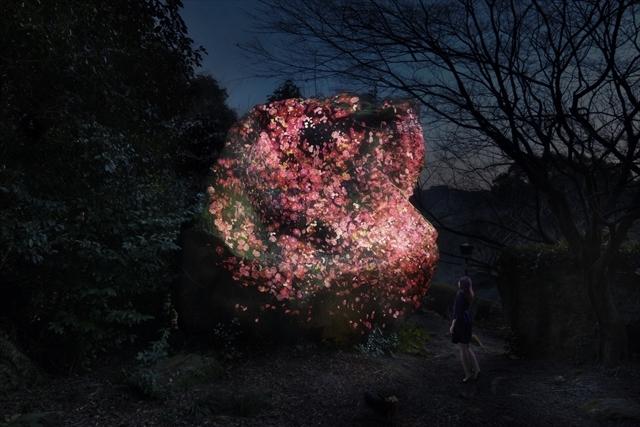 増殖する生命の巨石 / Ever Blossoming Life Rock teamLab, 2017, Digitized Nature