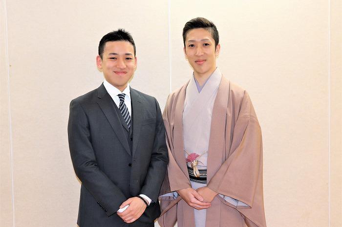 (右から)中村梅枝、中村萬太郎