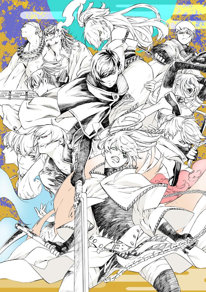 続編上演決定にあたり描かれた、霜月かいり描き下ろしのイラスト  (C)霜月かいり・kADOKAWA/舞台「BRAVE10〜昇焉〜」製作委員会