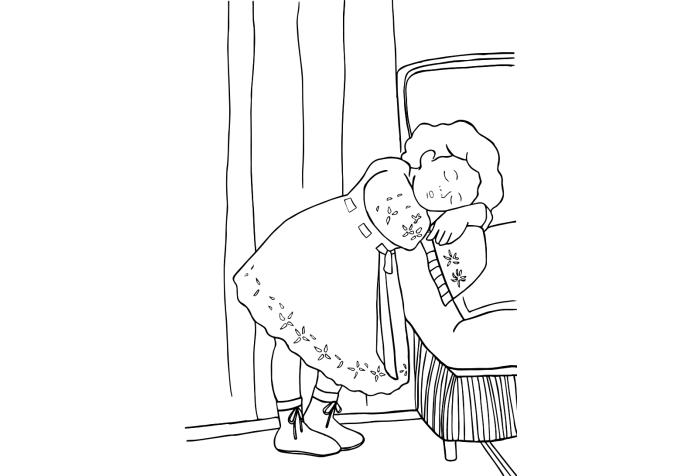 ぬりえ - 児島虎次郎《睡れる幼きモデル》 (ホームページより)
