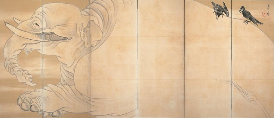 長沢芦雪《白象黒牛図屏風》(右隻)18世紀 米国・エツコ&ジョープライスコレクション