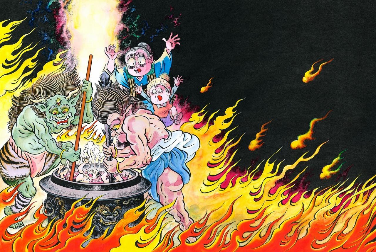 『水木少年とのんのんばあの 地獄めぐり』より「表紙」 紙本着色 1枚 2013年 水木プロダクション蔵 (C)水木プロダクション