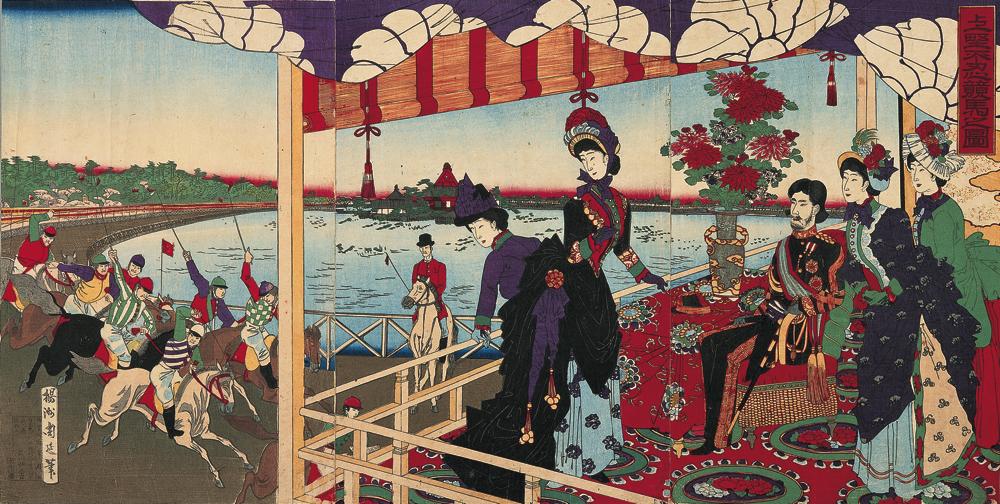 楊洲周延《上野不忍競馬之図》1884(明治17)年