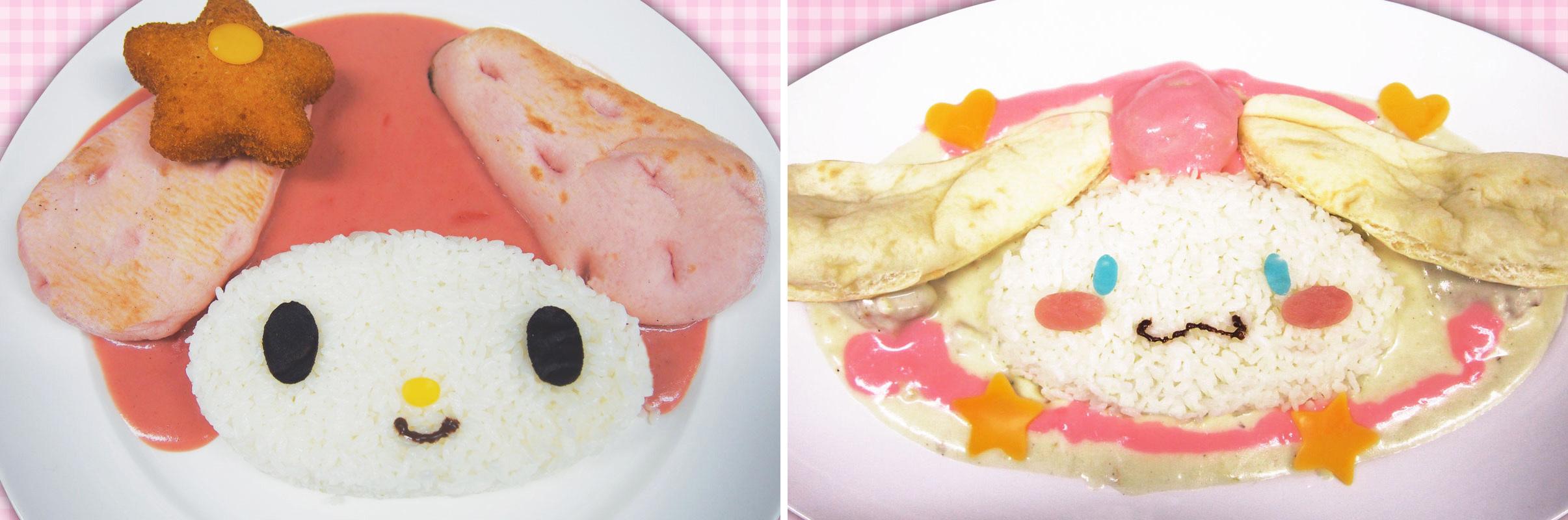 マイメロディのピンクカレー/左 シナモンのクリームシチューライス/右