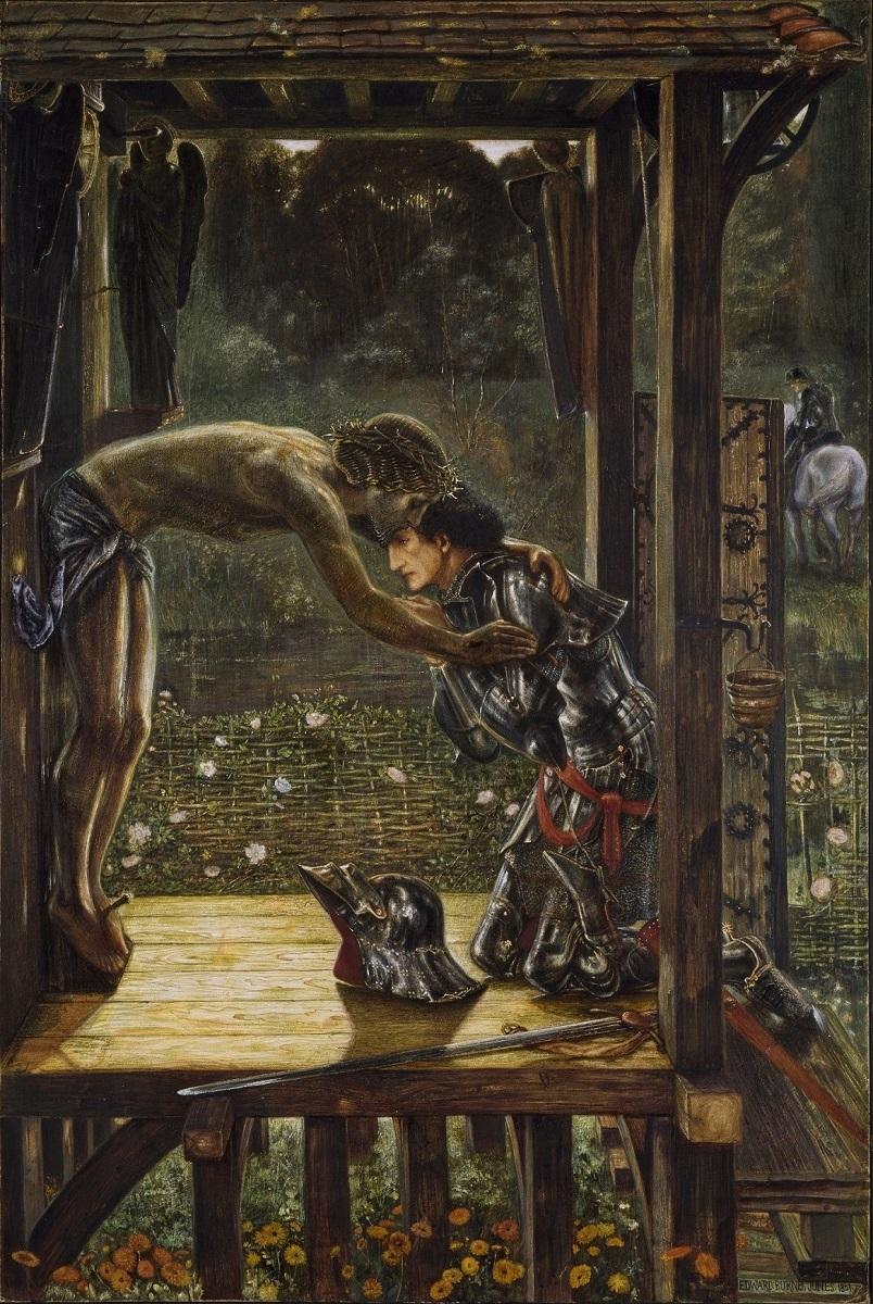 エドワード・バーン=ジョーンズ《慈悲深き騎士》1863年、水彩、100.3×69.2 cm、 バーミンガム美術館  (C) Birmingham Museums Trust on behalf of Birmingham City Council
