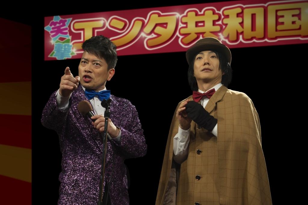 左から 宮迫博之、野村萬斎 (c)2016「スキャナー」製作委員会