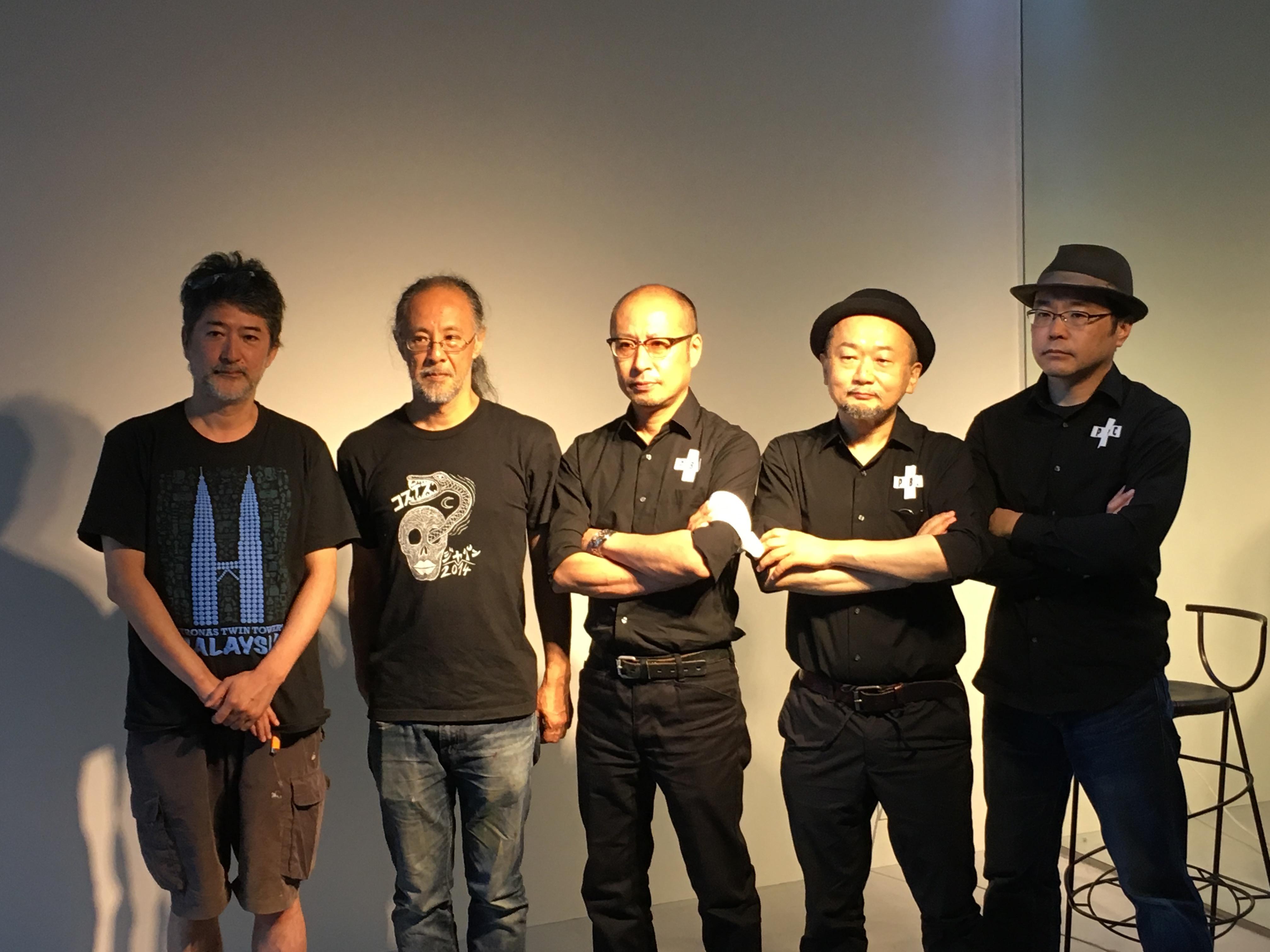 左から、会田誠、根本敬、松蔭浩之、谷崎テトラ、市川平