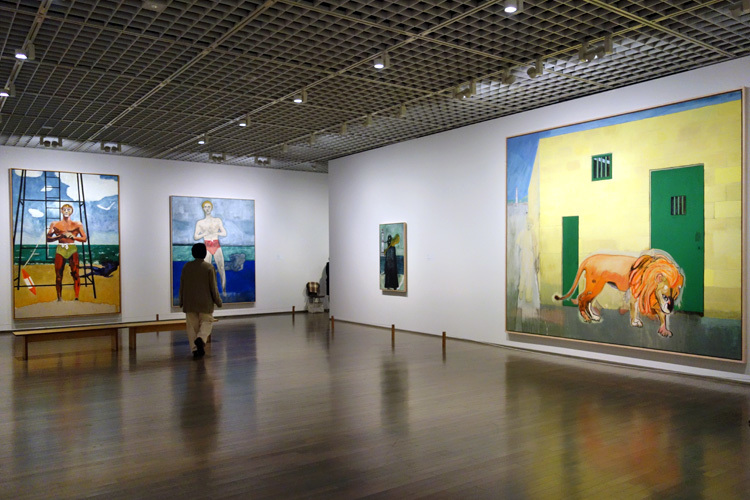 右:《ポート・オブ・スペインの雨(ホワイトオーク)》2015 水性塗料、麻 301x352cm 作家蔵