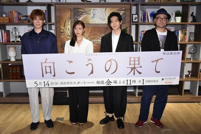 (左から)柿澤勇人、松本まりか、松下洸平、内田英治監督