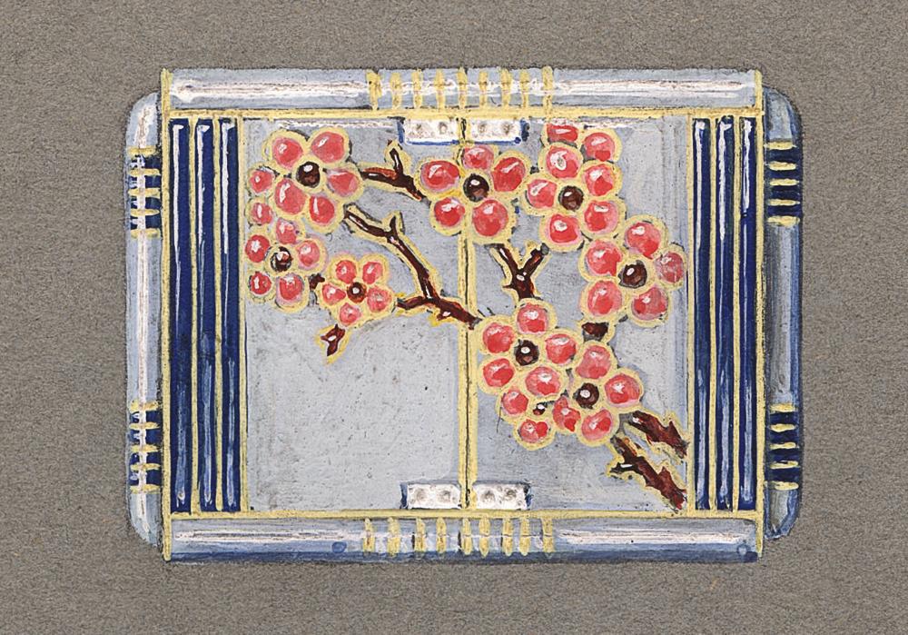 ショーメデザイン工房 《「日本風」のデザイン画》 桜の木モティーフの、エナメル加工のパースウォッチ 1925年頃 鉛筆、グアッシュ、墨 ショーメ・コレクション、パリ (C) Chaumet