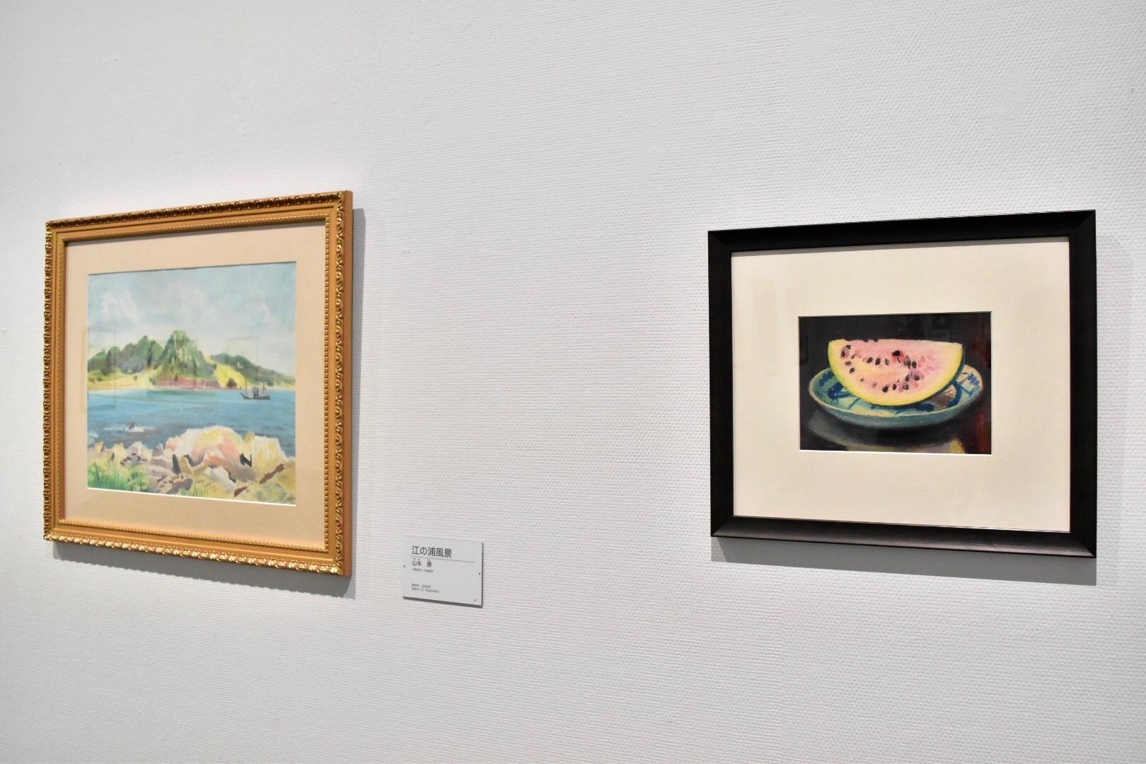 右:山本鼎 《西瓜》制作年不明 左:山本鼎 《江の浦風景》1934年