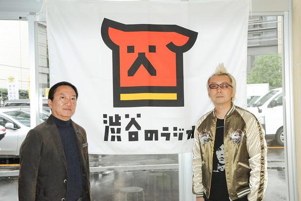 左から大西賢治渋谷区商店会連合会会長、箭内道彦。