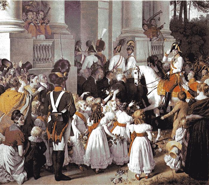 ヨハン・ペーター・クラフト画 1814年にオーストリア皇帝フランツ1世がウィーン帰還を果たした時の模様